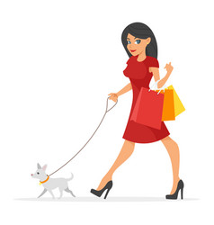 pretty woman with her dog vector image