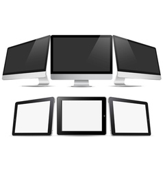 Three desktop computers and three tablets pc vector