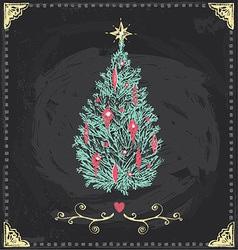 Vintage Christmas Tree Chalkboard Hand Drawn Set vector image