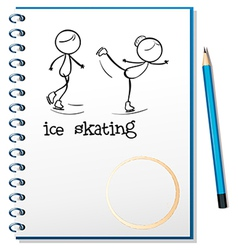 A notebook with an image of two people ice skating vector image