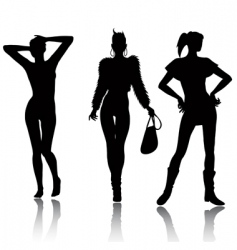 fashion woman silhouette set vector image