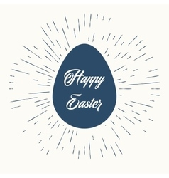 Happy easter and vintage sun burst frame vector image vector image