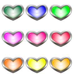 set of colored buttons in the shape of a heart vector image