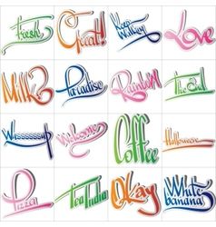 Set of various drawn and rendered Lettering label vector image vector image