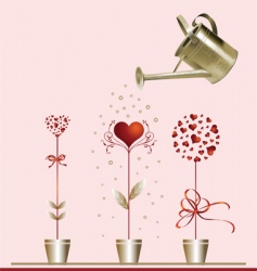 hearts and watering can vector image