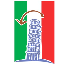Tower of Pisa and Italian Flag vector image