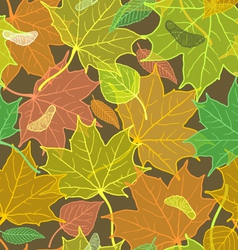 Autumn pattern with fallen leaves dark version vector image vector image