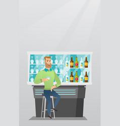 Caucasian man sitting at the bar counter vector