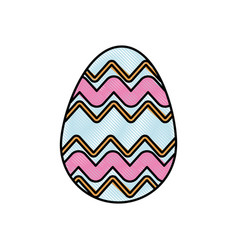 drawing colored easter egg celebration spring vector image