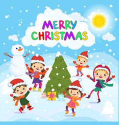 Merry Christmas 2017 Winter fun Cheerful kids vector image