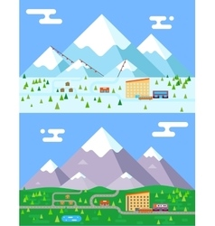 Spring summer winter seasons mountain village vector image vector image