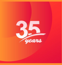 35 years anniversary color full line elegant vector