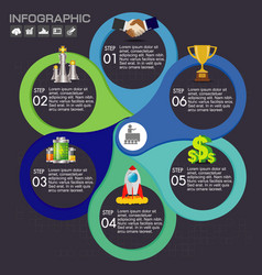 6 options infographic business concept with 6 vector image