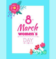 8 march womens day postcard vector image