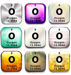 A periodic table button showing Oxygen vector image