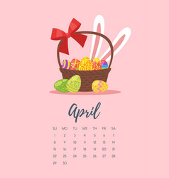april 2018 year calendar page vector image