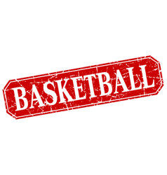 Basketball red square vintage grunge isolated sign vector