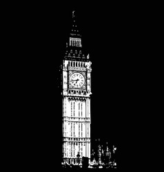 big ben - sketch hand drawn vector image