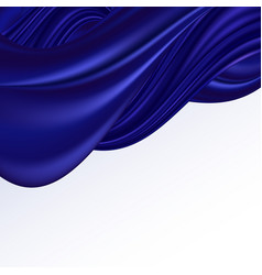 Blue satin wave background for banner smooth silk vector