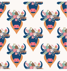 boho bull head seamless pattern abstract vector image
