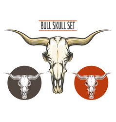 Bull Skull set vector