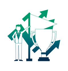 businessman holding flag trophy and arrows vector image