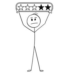 cartoon of man or businessman holding three stars vector image