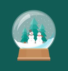 cartoon snow globe with white snowmen vector image