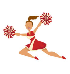 Cheerleader in uniform with pompoms sport and vector