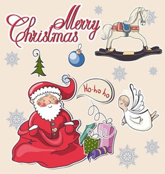 christmas decorative collection merry l vector image