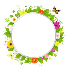 circle with flowers vector image