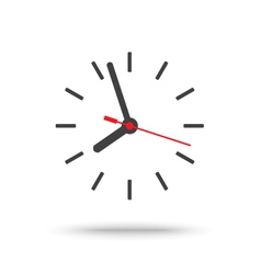 Clock icon with red second hand isolated vector image