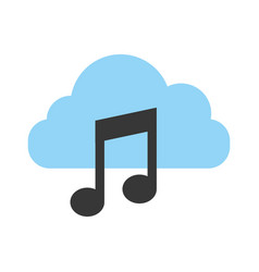 cloud computing with music note isolated icon vector image