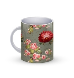 Coffee cup template with flower vector