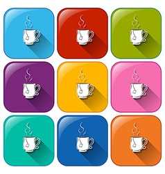 Colourful rounded buttons with cups of tea vector image