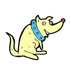 comic cartoon happy dog in big collar vector image
