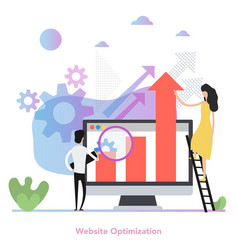 concept web site optimization in flat vector image