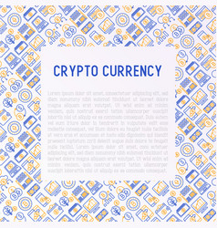 cryptocurrency concept with thin line icons vector image