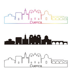 Cuenca eu skyline linear style with rainbow vector