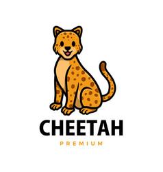 cute cheetah leopard cartoon logo icon vector image