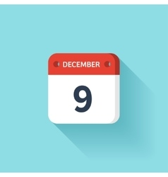 December 9 Isometric Calendar Icon With Shadow vector