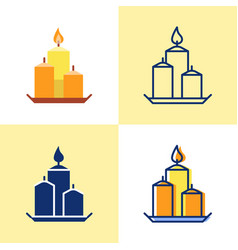 decorative candles on a plate icon set in flat and vector image
