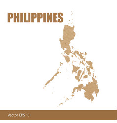 detailed map of philippines cut out of craft paper vector image