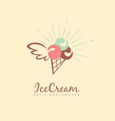 diet ice cream logo design vector image