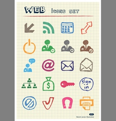 Doodle Internet and finance icons set vector image vector image