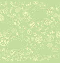 Easter egg bunny seamless pattern floral holiday vector