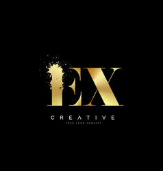Ex e x letter logo with gold melted metal splash vector