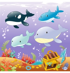 Family animals in the sea vector