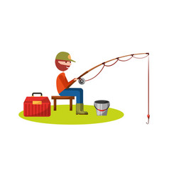 fisherman fishing avatar character vector image
