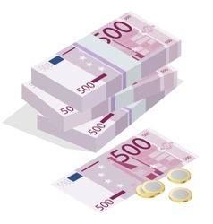 Five hundred euro banknote and one euro coin vector